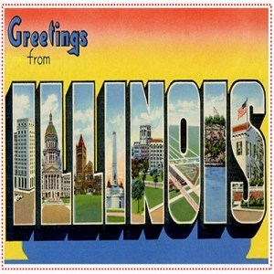 Vintage Illinois stamp