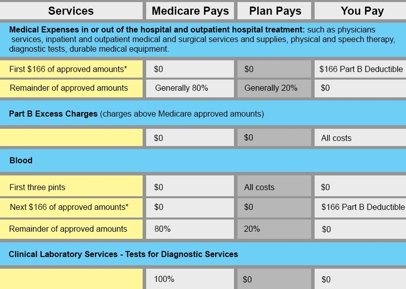 Medigap plan b compare benefits and rates online medicare benefit chart ccuart Image collections