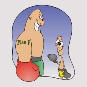 Boxer with Plan F tattoo